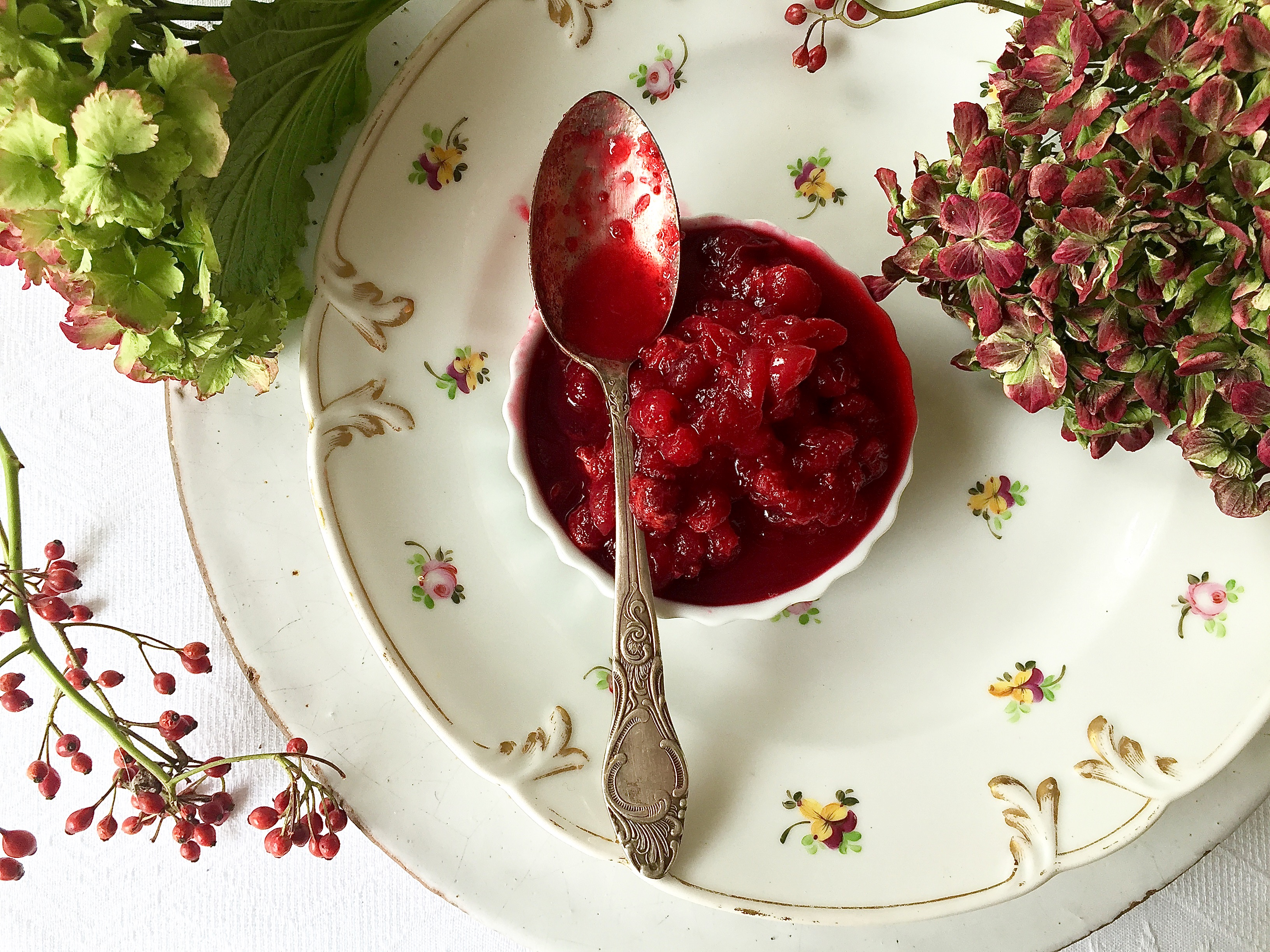 Cranberries and a silver spoon