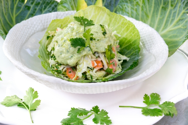Coleslaw and avocado dressing