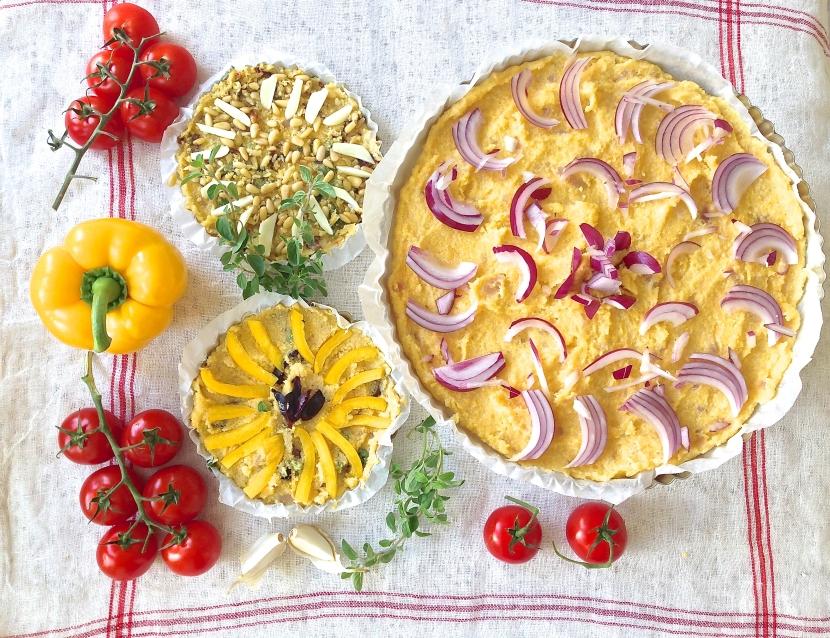 Polenta pizza with tomato and pepper