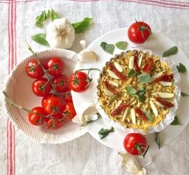 Polenta pizza with tomato