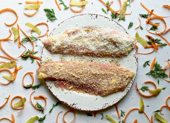 Baked fish raw with carrot peels