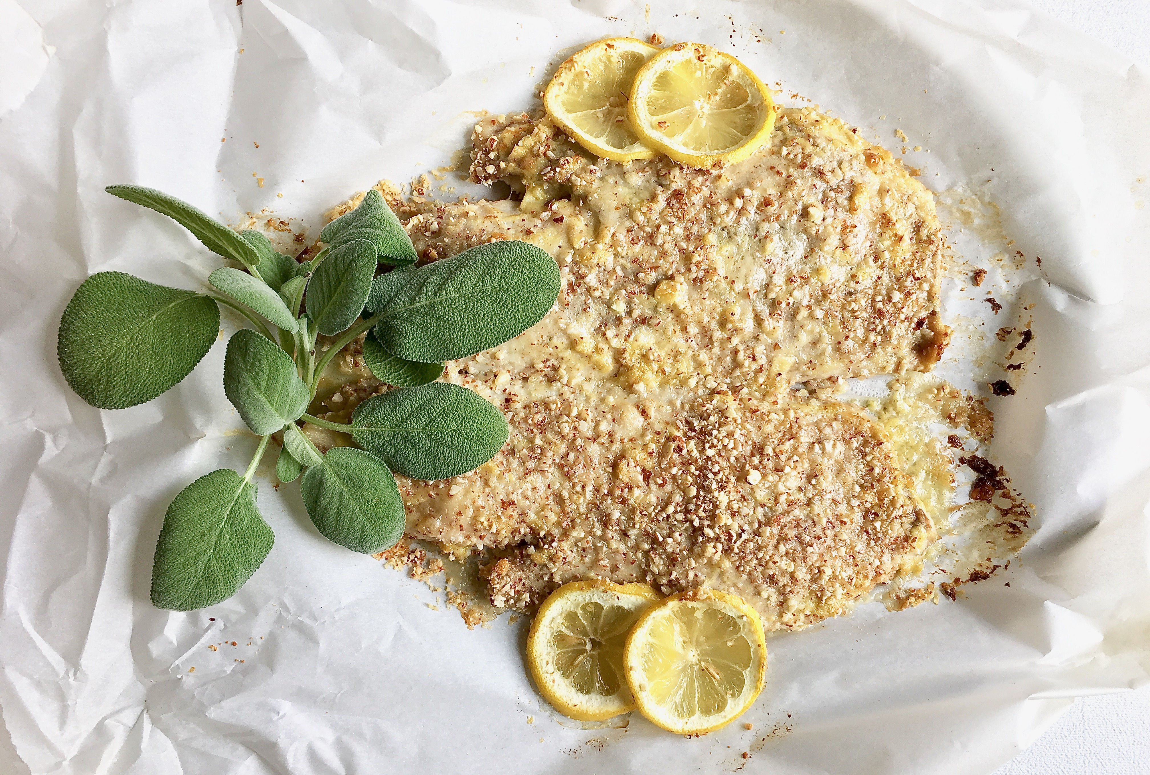 Baked whole fish with almond crust